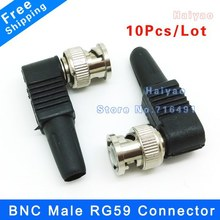 10pcs RG59 BNC male Plug pin Solderless Straight Angle video adapter bnc Connector for CCTV Camera(China)