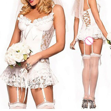 White Bride Dress Sexy Lingerie Role-playing Costume Lace Hollow-Out Low-Cut Babydolls Sleepwear Brace Mini Dress leepwear(China)