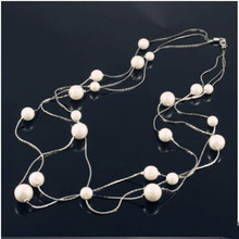 hot selling long wire connected ball positioning beads multilayer Bohemia sweater chain necklace 0012(China)