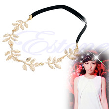 Greek Goddess Peace Angel Golden Olive Leaves Elastic Hair Band Headband Vintage(China)