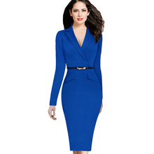 Free shipping 2016 Fashion Women Plus Size Autumn and Winter Wear For Work Business Office Slim Maxi Pencil bodycon Dress sexy