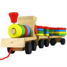 1Set Three Section Blocks Cars Small Tractor Train Environmental Protection Wooden Toy Educational toys