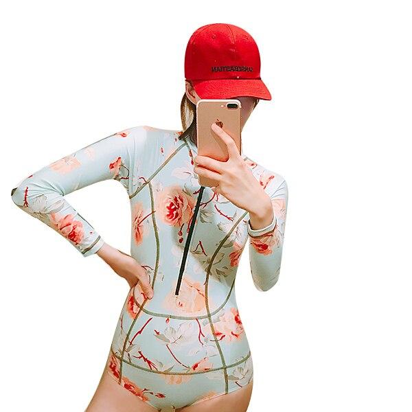 Korean Floral One Piece Long Sleeve Swimsuit for Women Sun Protection Diving Surf Swimwear Bathing Suit Beach Swim Rash Guard XL<br>