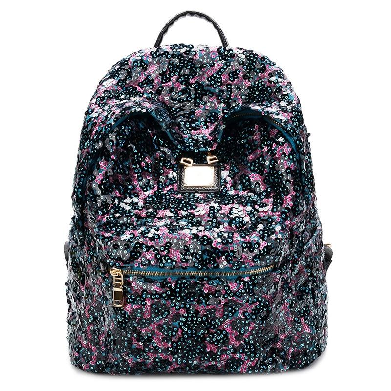 women big school backpack bling sparkle  rucksack  sequins  student casual satchel girls lady daily packsack <br>