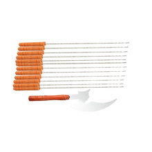 13Pcs/set High Quality New Outdoor Barbecue Skewers Needle Set with Wood Handle BBQ Kebab Stick
