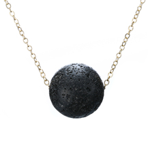 Vintage Natural Lava Stone Necklaces Shellhard Round Ball Triangle Pendant Essential Oil Diffuser Necklace Unisex Jewelry(China)