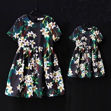 Brand design family matching clothes clothing toddle girls Summer holiday dress mother kids party dress mom and daughter dresses(China)