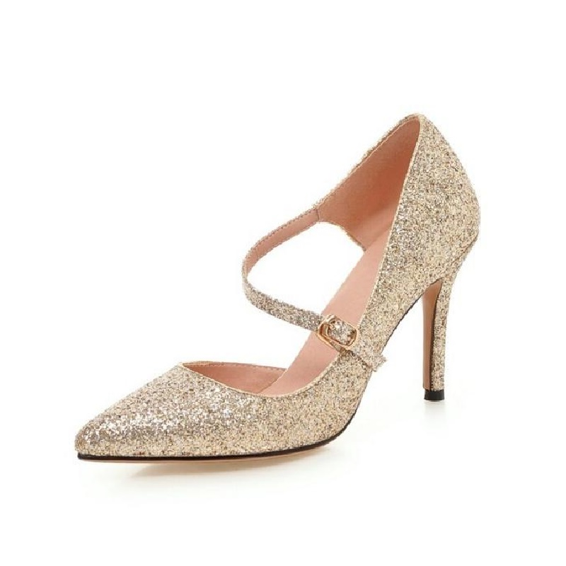 ZOEYUAI Thin High Heels Women Pumps Sexy Glittery Leather Bright Mental Gold Fashion Two-Piece Pointed Toe Gold Sliver Pumps <br>