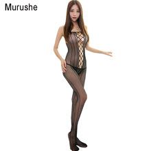 Buy Murushe Women Bodystocking Hot Sexy Lingerie Sexy Costumes Mesh Body Stocking Crotchless Bodysuit Open Crotch Teddies Sleepwear