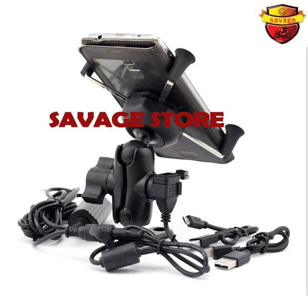 For SUZUKI DL650 DL1000 V-STROM GSX1300 B-KING Motorcycle Navigation Frame Mobile Phone Mount Bracket with USB charge port<br>