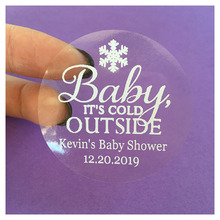 Personalized Winter baby shower favors stickers White Snowflake Baby its cold outside gifts labels custom tags 60 pieces(China)