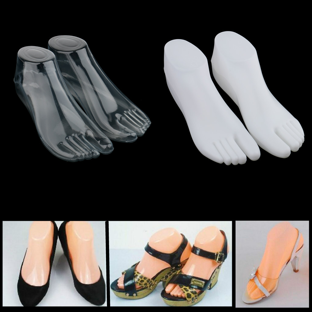 2Pair Plastic Women Female Feet Mannequin Thong Style Foot Model for Shoes Sandals Socks Anckle Chains Toe Rings Display