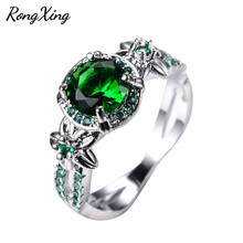 RongXing Fashion Green Flower Jewelry May Birthstone Rings For Women Wedding Band White Gold Filled Green AAA Zircon Ring RW1412