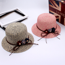 2017 New Fashion Solid Ladies Summer Straw Cap Bow floral Decoration Sun Hat Snapback Folding Sweet Gorras Women Sun Bonnet