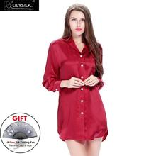 Lilysilk Nightwear Women Long Sleeve Nightdress Pure Silk Pure Buttons Bride Sleep Shirt 22 Momme Sexy Mini Summer Nightgown(China)