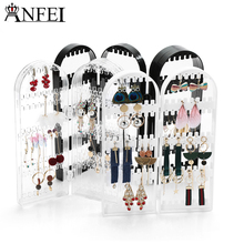 Anfei New Arrival Earring Storage Stand Plastics Jewelry Organizer Holder Jewelry Display Stand Earrings Rack Ornaments A233(China)