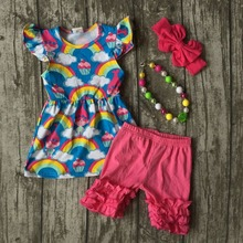 baby Girls Summer clothes girls children troll hair outfits kids rainbow dress top with hot pink shorts outfits with accessories