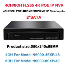 H.265 4CH 8CH POE NVR HDMI Onvif P2P Motion Detection For 12MP/8MP/5MP/3MP/1080P/720P IP POE Camera Video Network Recorder