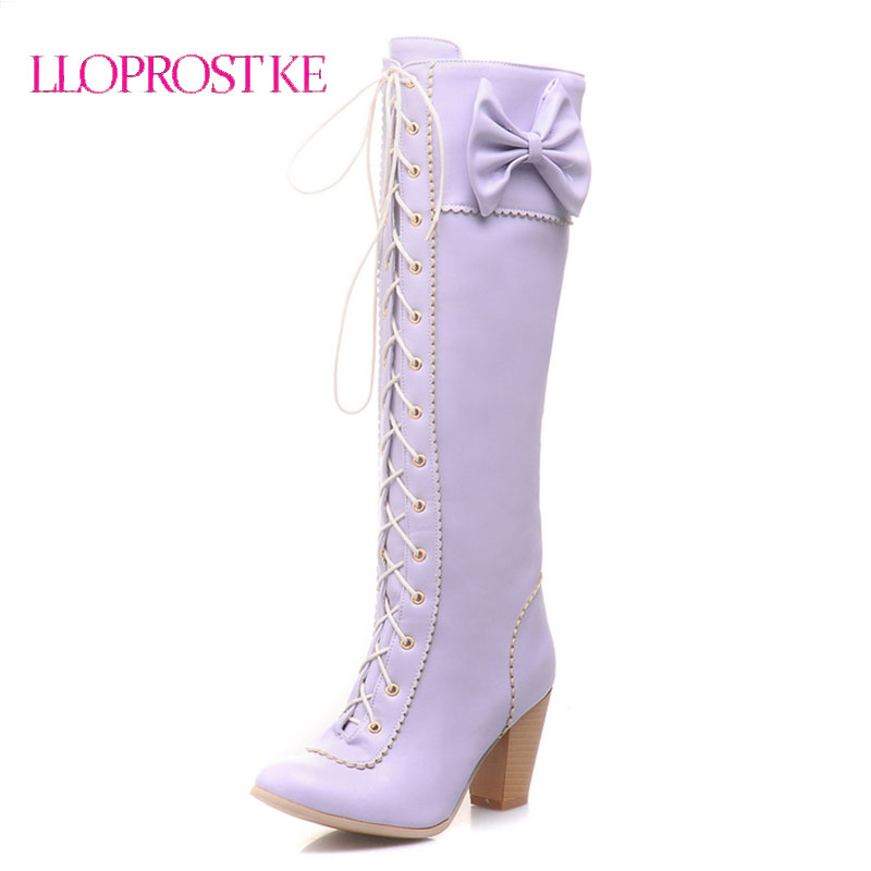 LLOPROST KE Women Boots Winter Shoes Long Boots High Heels Motorcycle Women Knee Boots For Women Womens Thigh High boots ML041<br>
