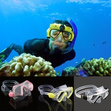 Children Kids Snorkel Diving Swimming Mask Tempered Glass Lens Diving Googles Glasses with Breath Tube Snorkeling Equipment