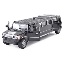 High simulation 1:32 alloy car model hummer limousine metal diecast pull back flashing musical toy vehicles free shipping(China)
