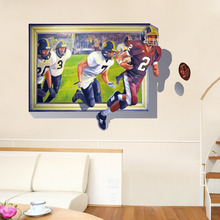 New style 3D Effect Playing rugby Self Adhesive Vinyl Removable Decal for Boy Bedroom Living Room PVC Wall Sticker Mural Decor