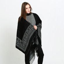 Geometric patterns double-sided fringed European and American big scarf lengthened thick cashmere shawl
