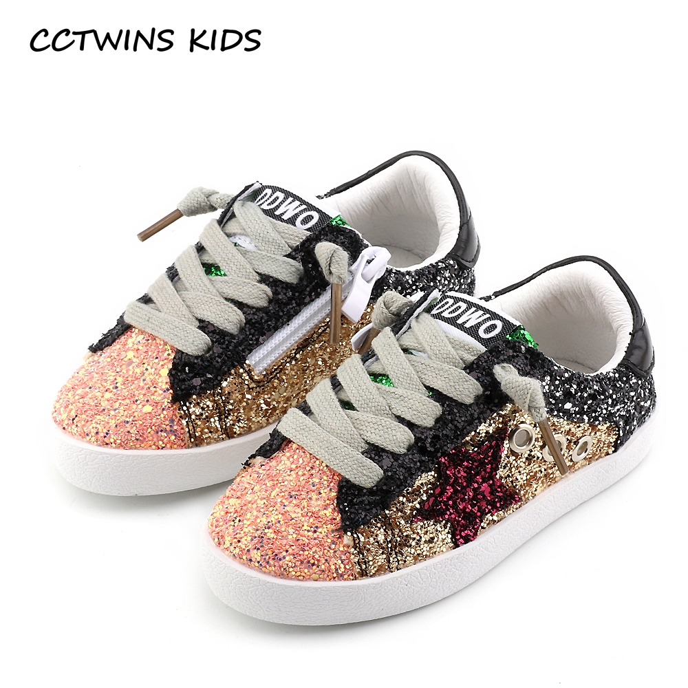 CCTWINS KIDS 2017 Toddler Baby Glittler Shoe Girl Star White Sneaker Boy Sport Shoe Kid Child Causal Trainer Sequin Flat F1550(China (Mainland))