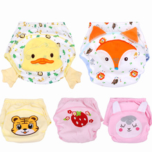 5Pcs/Lot Cartoon Animal Pattern Breathable Baby Underpants Soft Cotton Infants Potty Training Pants Reusable Nappies Fraldas(China)