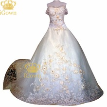 iGown Brand 150cm Royal Train Romantic Gold Flowers Wedding Dresses Crystal Beading Empire Wedding Dresses Plus Size Bride Dress