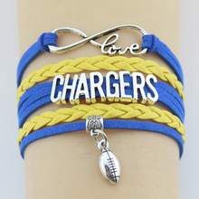 Drop shipping Infinity Love Chargers Football Team Bracelet Bangles Handmade Leather Braid Charm Bracelet Custom any Themes