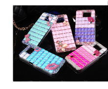 3D Handmade Luxury Bling Bling Pink Bowknot Pearl Case Cover For Samsung Galaxy S6(China)
