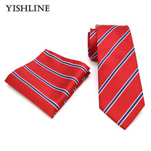 T206 Mens Ties 8CM Red Black Striped Tie Hanky Set Men's Business Wedding Party Jacquard Woven 100% Silk Necktie Handkerchief(China)