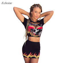 Echoine 2017 Sexy Fire Print Two Piece Mini Dress Sexy O Neck Short Sleeve Hollow Out Crop Top Package Hip Bodycon Club Dresses