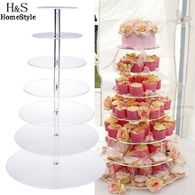Big Size 7 Tier Crystal Clear Circle Acrylic Round Cupcake Stand for Wedding Party Cake Display Decoration #30-17