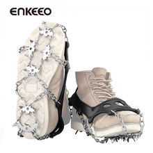 Enkeeo Ice Cleats 18 Stainless Steel Spikes Crampons Traction Cleats for Winter Walking Fishing Hiking on Snow and Ice M L XL(China)