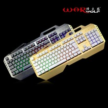 Warwolf V7 Wired Mechanical Metal Keyboard 104 Keys Gaming For Computer Games Mechanical Feel With 7 Colorful Rainbow Backlight