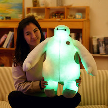 Free Shipping Retail 60Cm Music and Luminous Moive 6 Baymax Robot Stuff Short Plush Toys White Fat Man Best Gift WJ450(China)