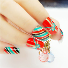 24pcs Christmas False Nails with Glue Artificiais Full Cover Fake Nail Art Tips Gel Christmas Gift Nails Designs Decorations Set