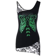 Women Sleevess Summer Tops Black Lace Stitching Tee Shirt 2018 PUNK Style Butterfly Printed Female Clothing Shirt WS5701O(China)