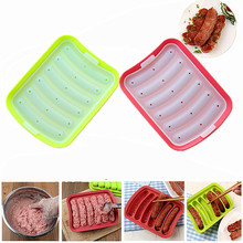 DIY 6-link Sausage Silicone Mold Rack Egg Sausage Cake Ham Sausage Box Hot Dog Maker Kitchen Baking Microwave oven Tools