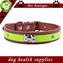 Personalized Crystal Studded Reflective Dog Collar Pu Leather Collars For Dogs Necklace Pet Products For Animals(China)