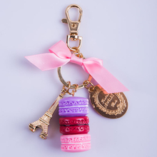 France Effiel Tower Keychains Brands Woman Luxury Macarons Cake Keychain on Bag Purse Handbag Charms Car Keychain with Gift Box(China)