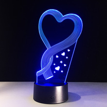 Romantic Valentine Love Heart 3D Night Light RGB Led Table Lamp 7 Color Changing Wedding Party Home Holiday Decor Gifts(China)