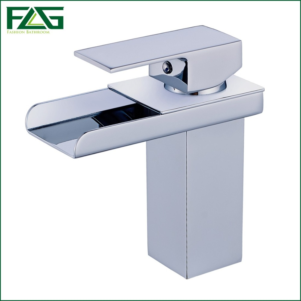 FLG New Arrival Basin Faucet Square Waterfall Chrome Cast 2 Cold&amp;Hot Deck Mounted Torneira Lavabo Vessel Faucet Basin Tap M053C<br><br>Aliexpress