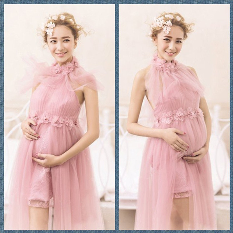 Women Pink Skirt Maternity Photography Props Elegant Pregnancy Clothes Maternity Dresses For pregnant Photo Shoot Clothing<br>