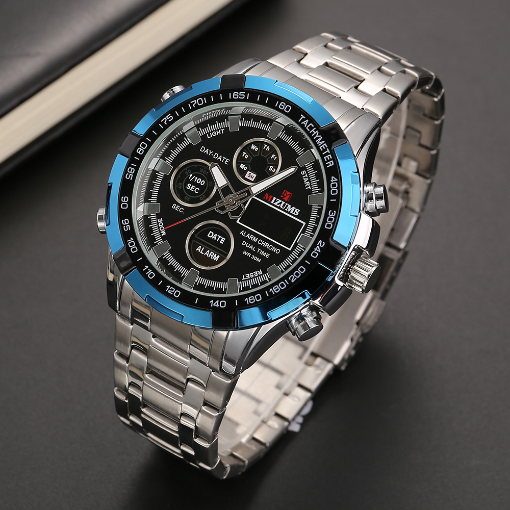 dual time zones mens watches quartz digital wristwatches (2)