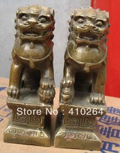 SCY [Nice Discount ] Lovely a pair Lion foo dog Bronze Statue