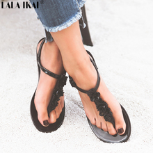 Womens Flat Sandals Thong Flip Flops Shoes Summer Style Beach Sandals Comfortable Buckle-strap Girl Shoes F1237(China)