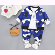 Infantis Childrens spring autumn baby Boys tops tees long sleeve t shirt+pants+jacket coat 3pc/set kids Clothes 0-3ycamouflage